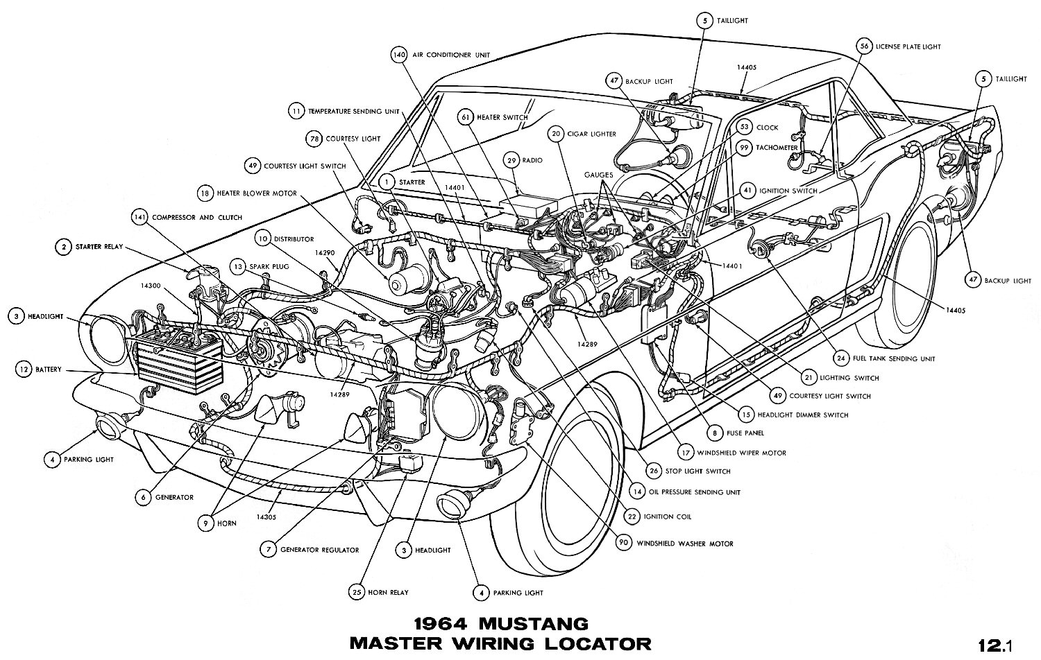 exterior light turn signals and horns wiring diagrams of ... 1966 mustang cluster wiring diagram