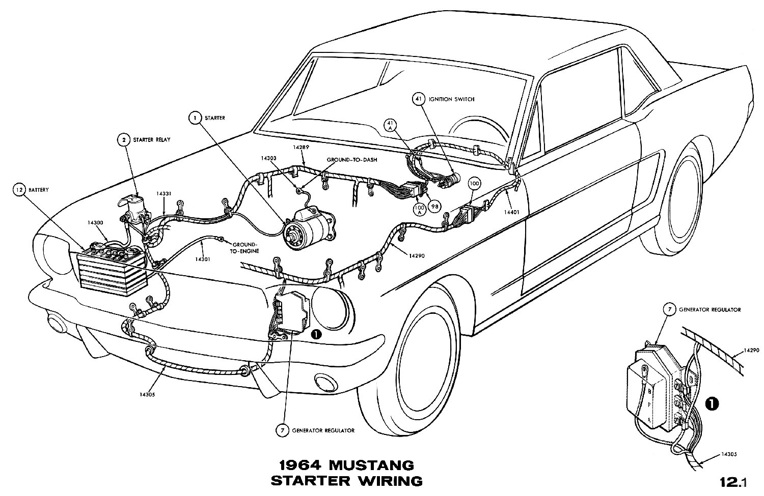 1964 Mustang Wiring Diagrams Average Joe Restoration 1968 Transmission Selector Diagram Sm1964d Starter Pictorial Or Schematic