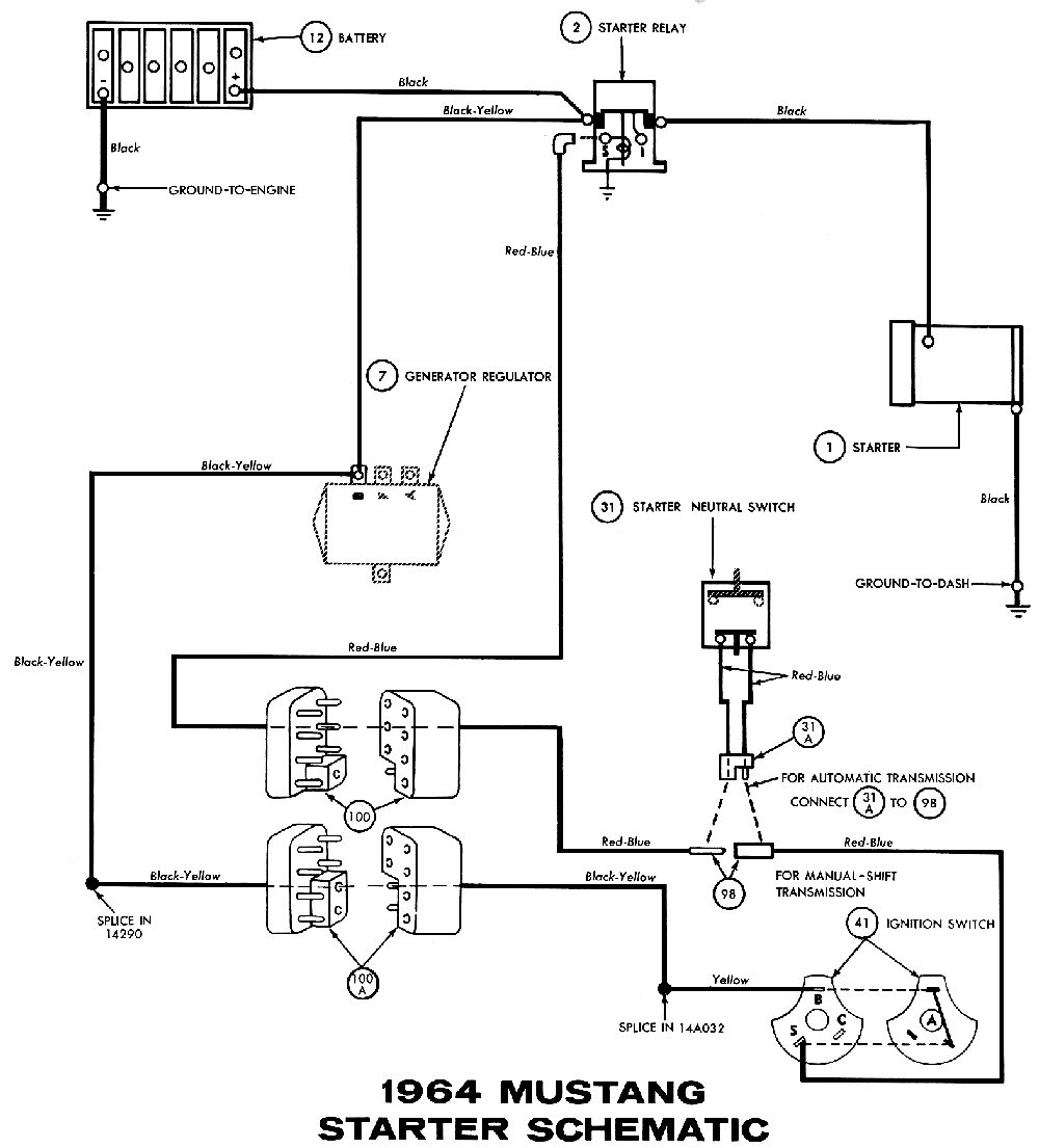 1964e 1964 mustang wiring diagrams average joe restoration starter wiring schematic for a 1991 gmc 1500 at fashall.co