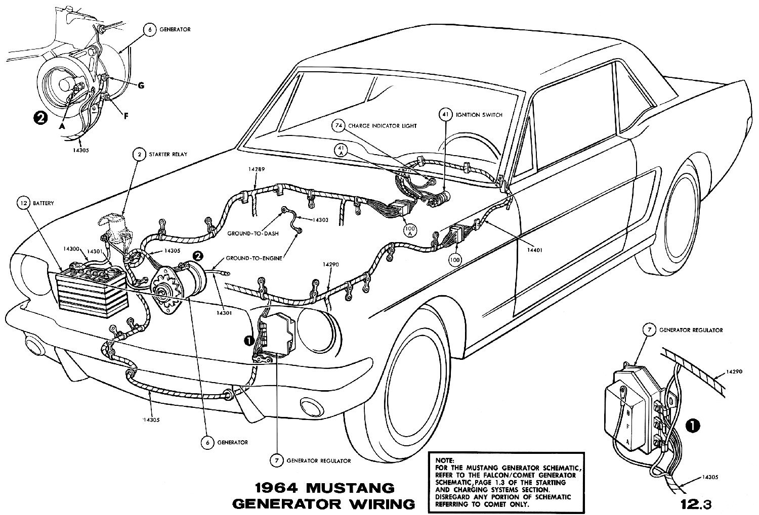 mustang ignition wiring diagram 1964 mustang wiring diagrams average joe restoration sm1964f 1964 mustang generator wiring pictorial or schematic