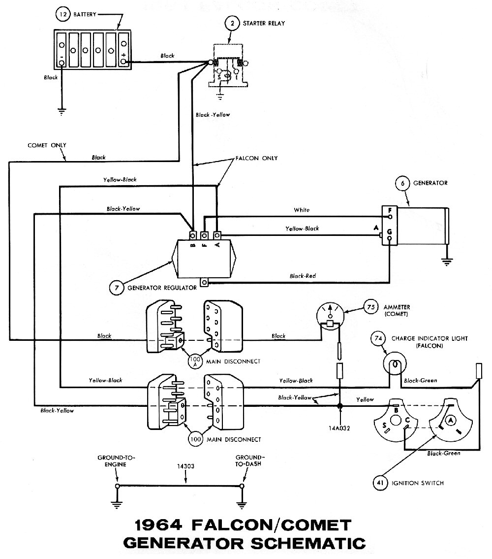 1964 mustang wiring diagrams average joe restoration 1964 mustang generator wiring pictorial or schematic starter relay