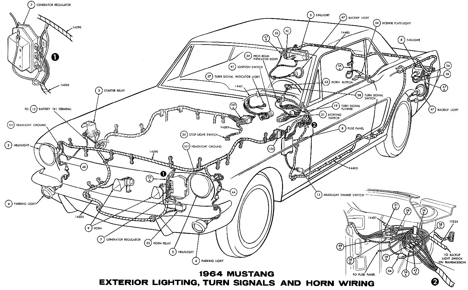 1964 Mustang Wiring Diagrams Average Joe Restoration 1968 Transmission Selector Diagram Sm1964h Exterior Lighting Turn Signals And Horns Pictorial Or Schematic