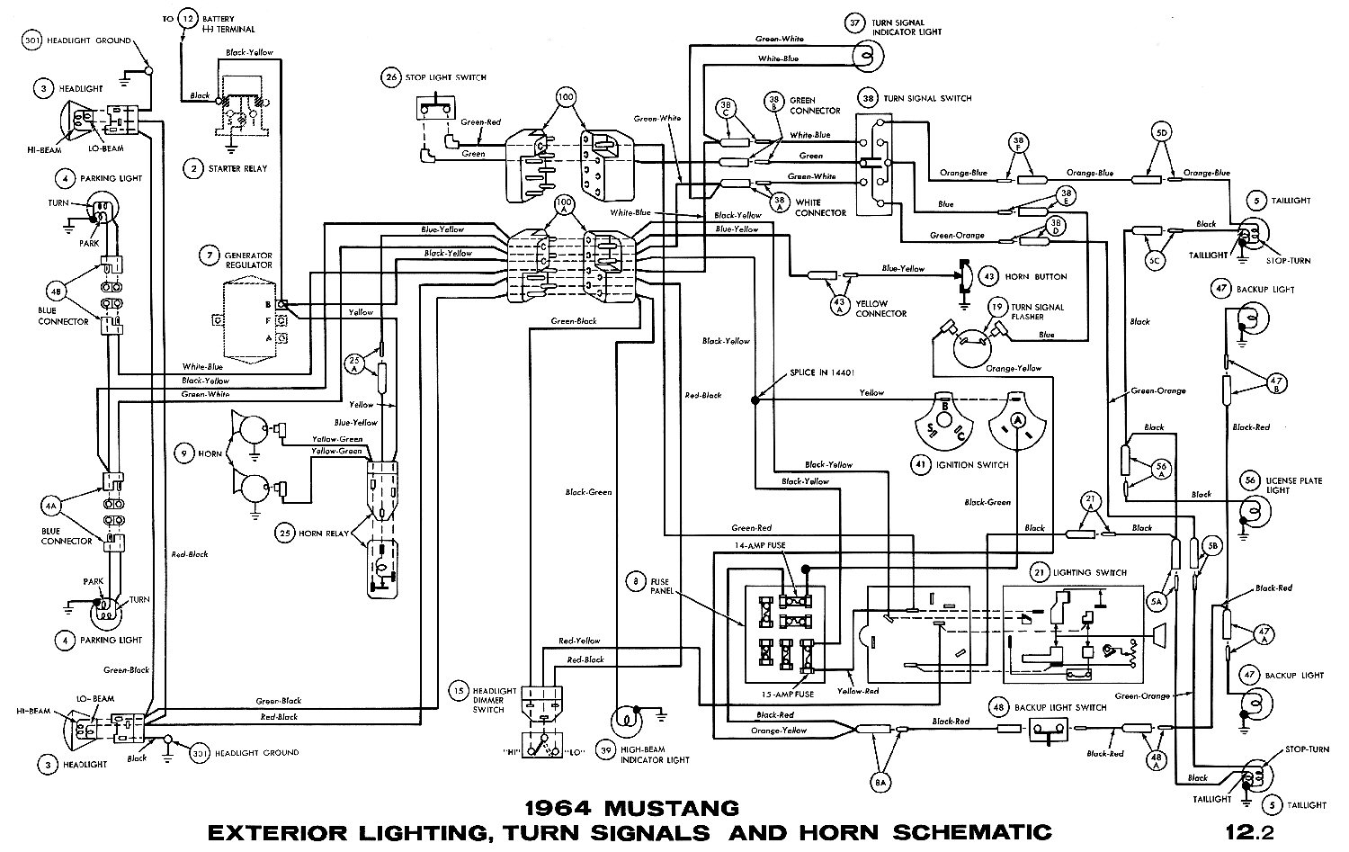 1964 Mustang Wiring Diagrams Average Joe Restoration Turn Signal Diagram Signals And Horns Pictorial Or Schematic Headlamps