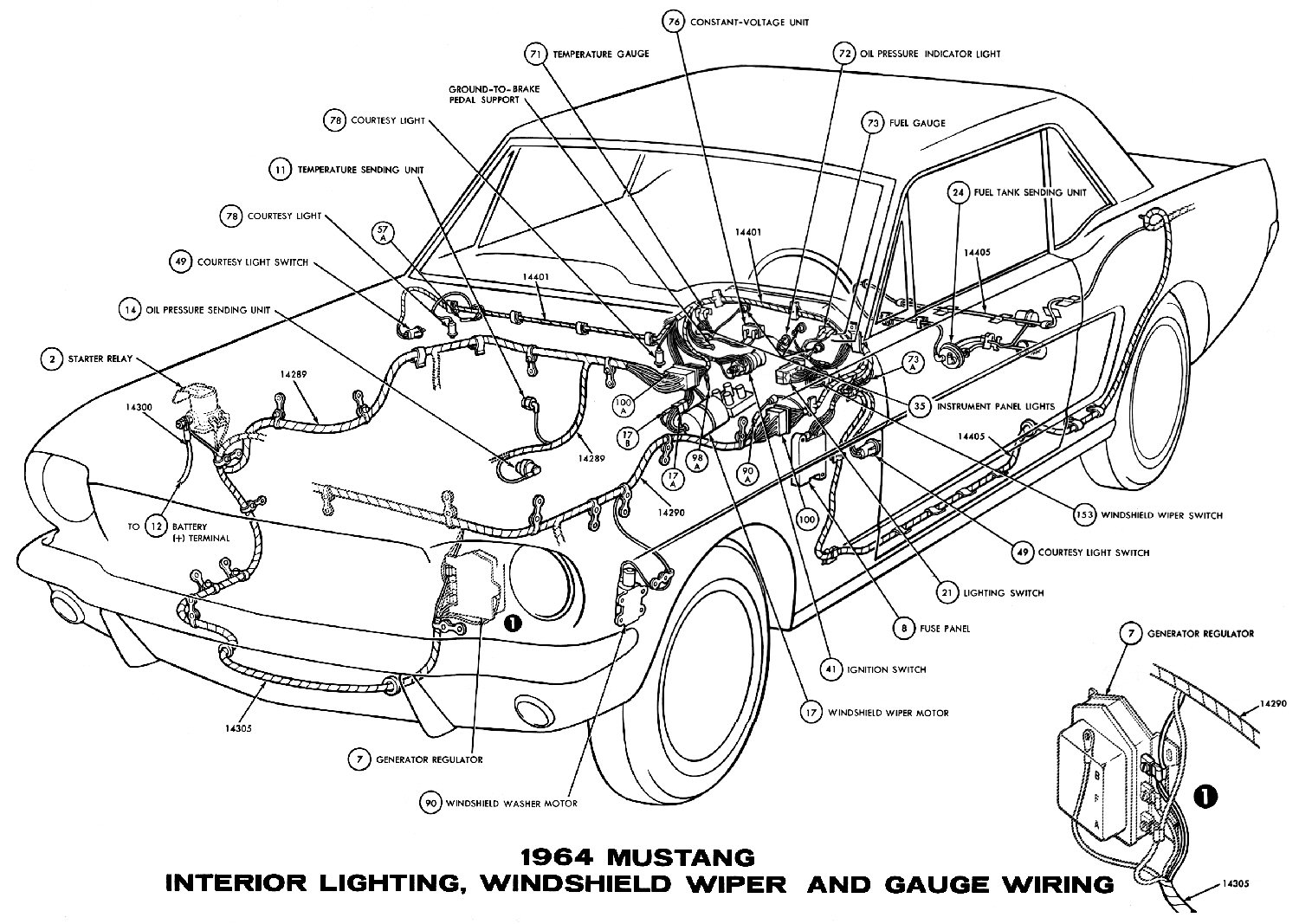 1964 Mustang Wiring Diagrams Average Joe Restoration 1968 Transmission Selector Diagram Sm1964j Interior Lights Windshield Wiper And Gauges Pictorial Or Schematic