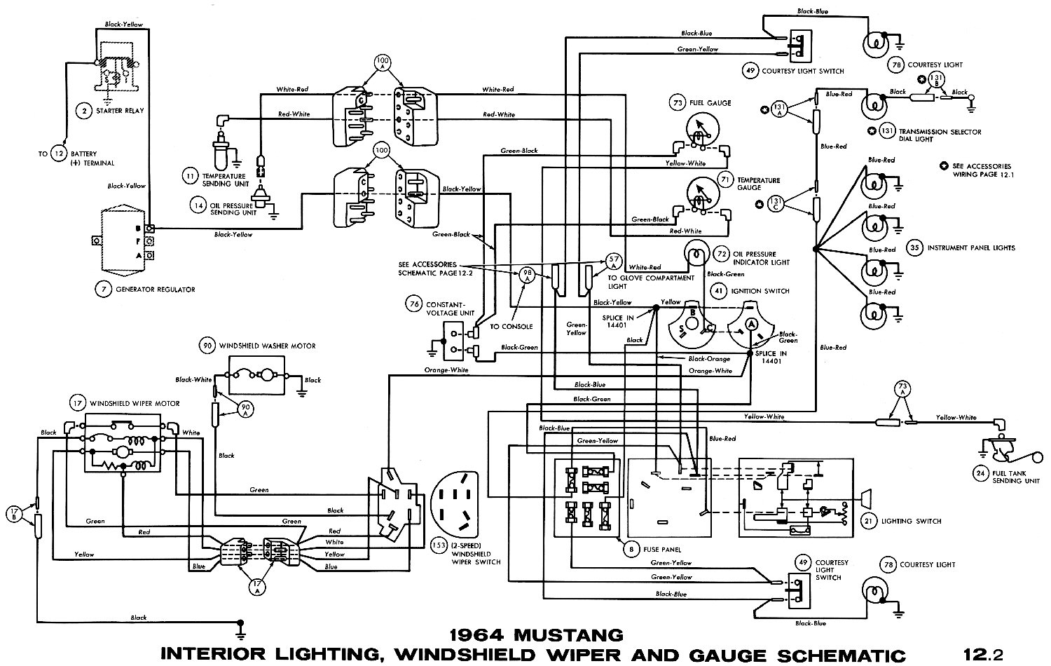 1964 Mustang Interior Lights, Windshield Wiper and Gauges Pictorial or  Schematic. Oil pressure ...