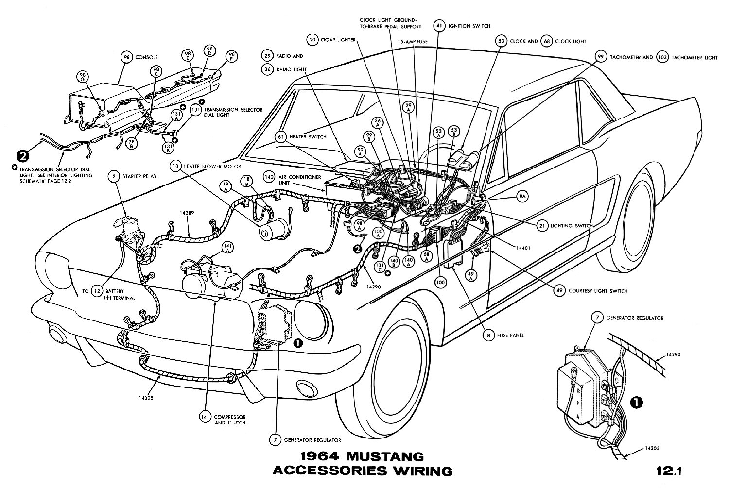 1964 Mustang Wiring Diagrams Average Joe Restoration 1968 Dash Cluster Diagram Sm1964l Accessories Pictorial Or Schematic