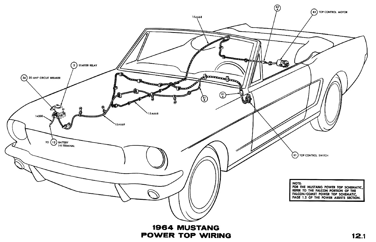 1964 Mustang Wiring Diagrams Average Joe Restoration 1968 Transmission Selector Diagram Power Top Pictorial Or Schematic