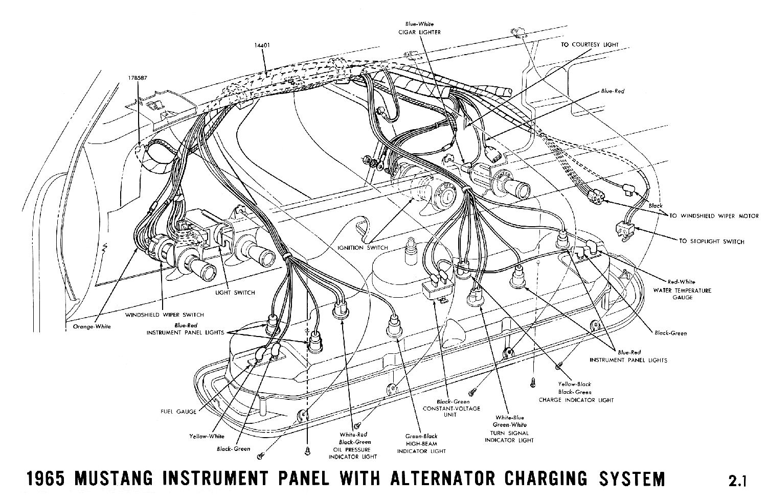 1965 mustang wiring diagrams average joe restoration mustang engine diagram 1965a 1965 mustang instrument panel with alternator