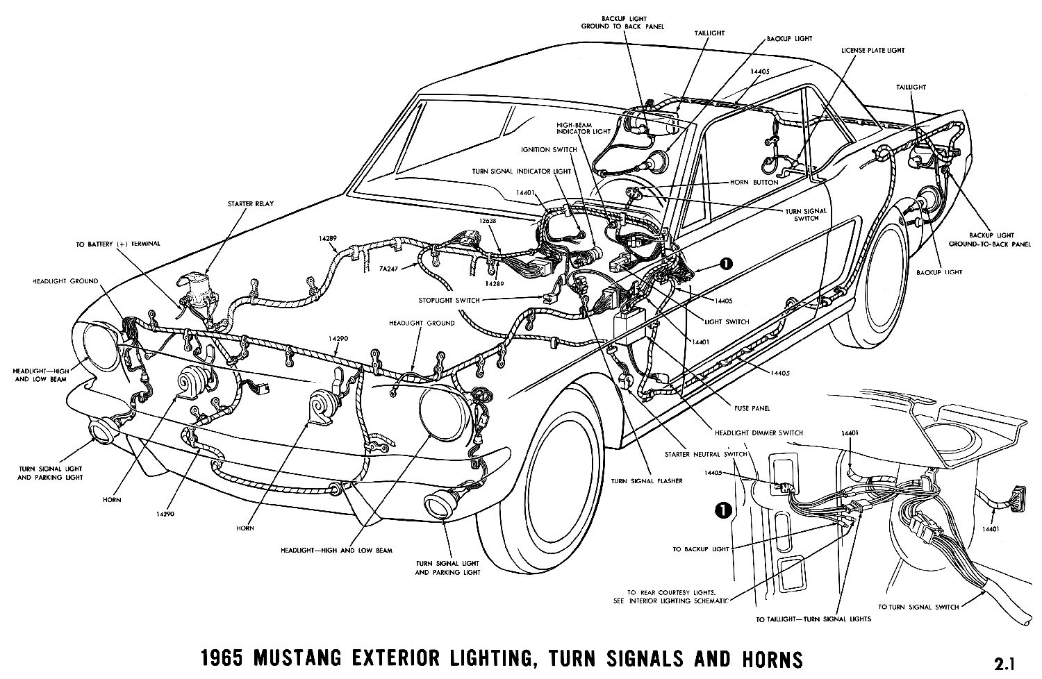 1965 mustang exterior lighting, turn signals and horns pictorial or  schematic
