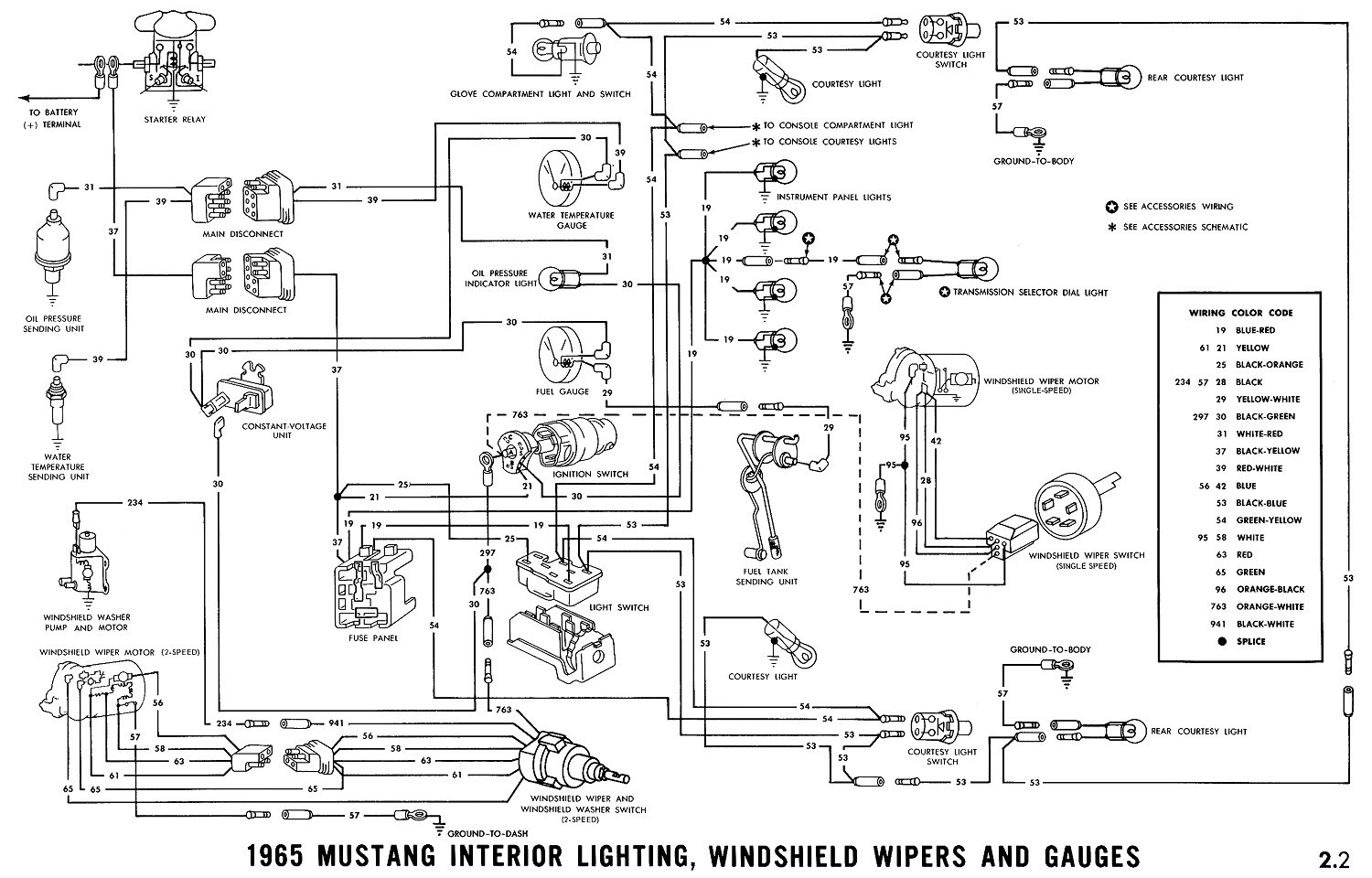 1965 Mustang Interior Lights, Windshield Wiper and Gauges Pictorial or  Schematic. Oil pressure ...