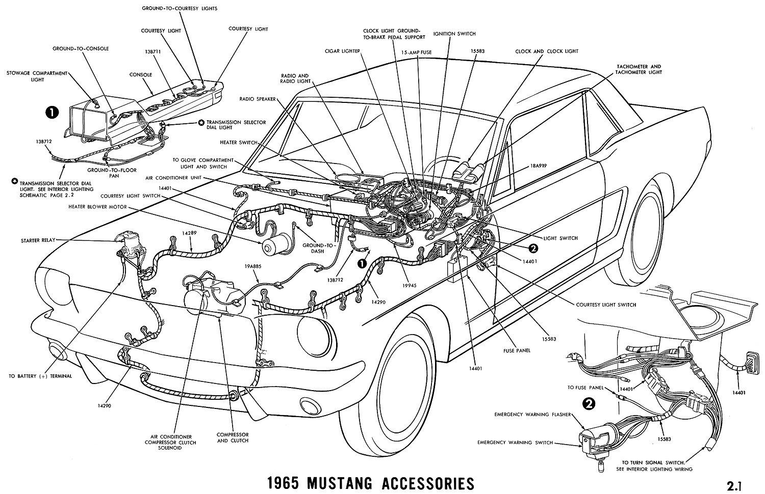 1965 Mustang Accessories Pictorial or Schematic
