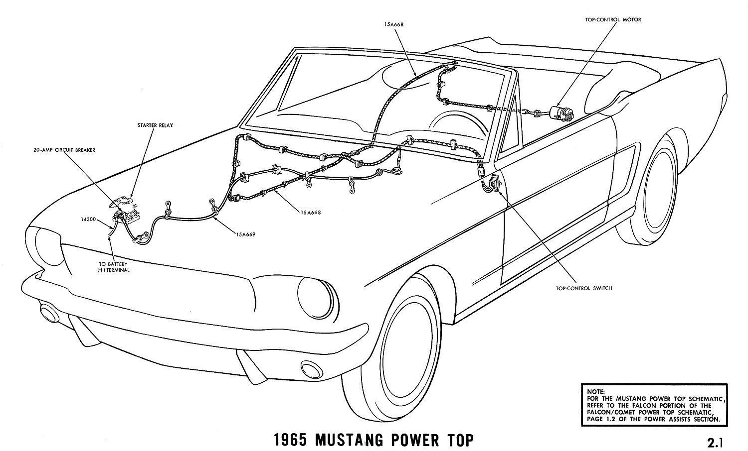 1965 mustang power top pictorial or schematic