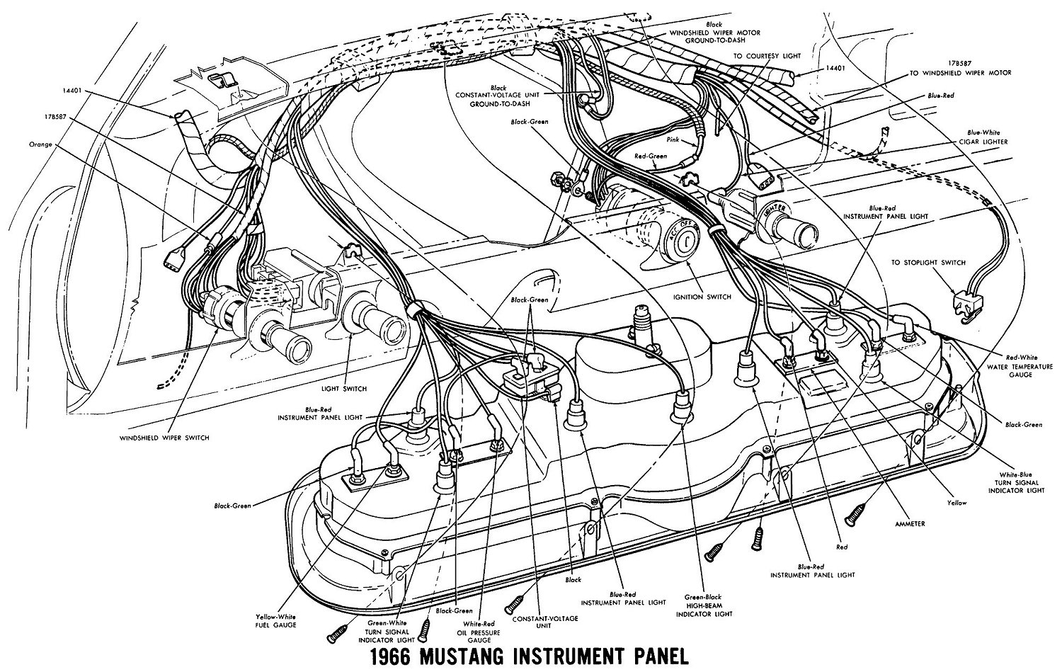 1966 mustang instrument panel wiring diagram wiring diagrams rh noppon co 68 Mustang Wiring Diagram 1968 Mustang Alternator Wiring Diagram