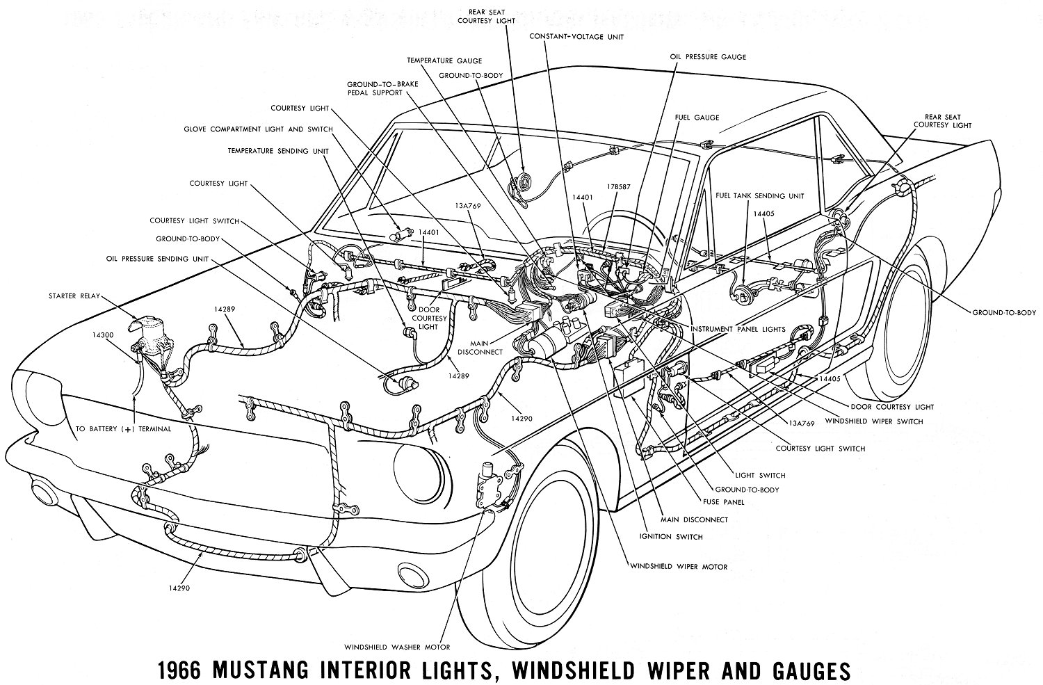 1966 mustang interior lights, windshield wiper and gauges � schematic