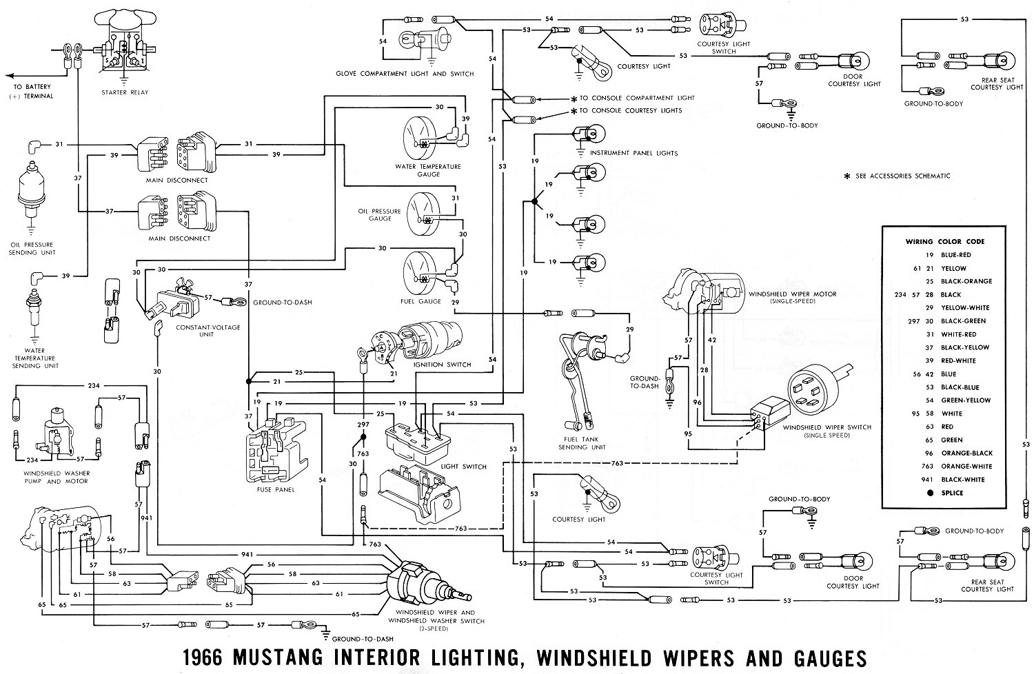 1966 Mustang Interior Lights, Windshield Wiper and Gauges · Schematic