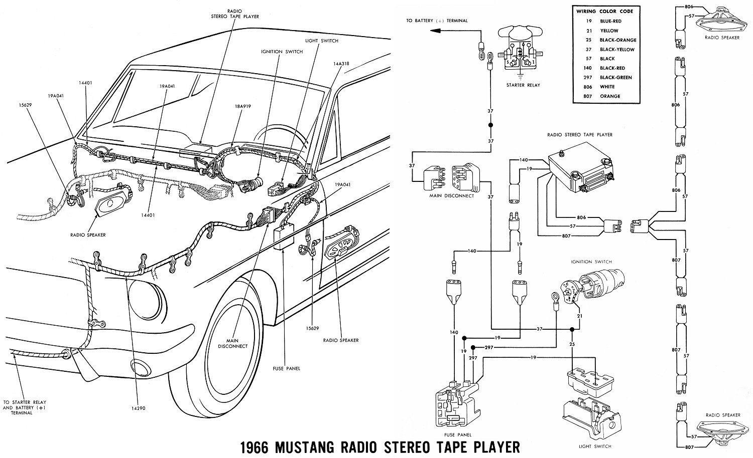 1966 mustang wiring diagrams average joe restoration 1966 mustang radio stereo tape player