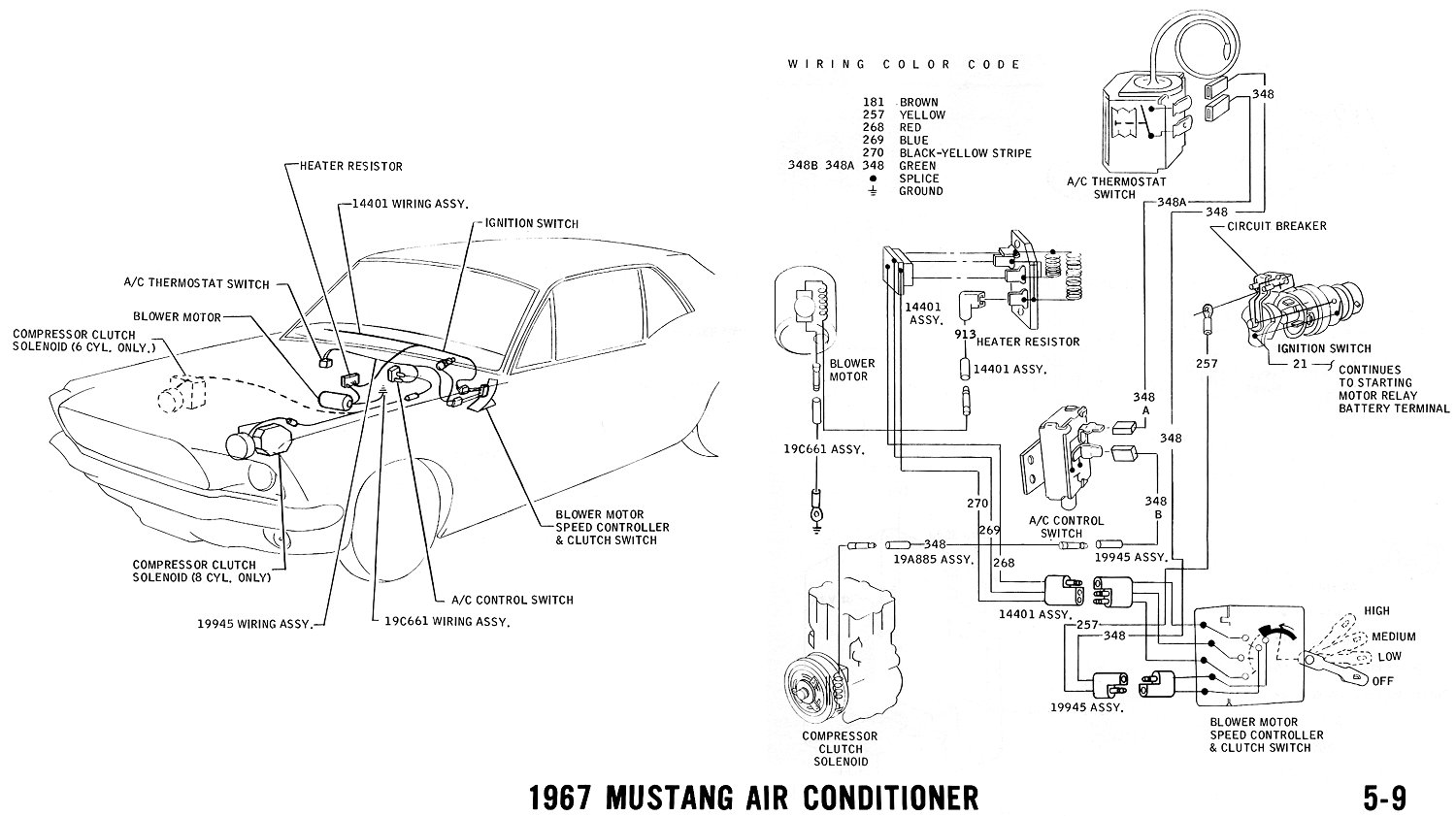 1967 mustang wiring and vacuum diagrams average joe restoration 1967 mustang air conditioner pictorial and schematic