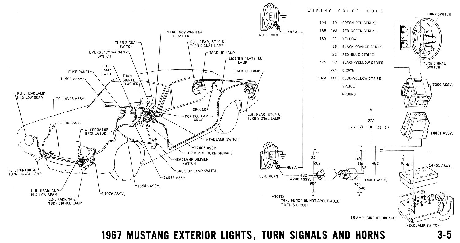 1967 Mustang Exterior Lighting, Turn Signals and Horns. Pictorial and Horn  Schematic or Schematic