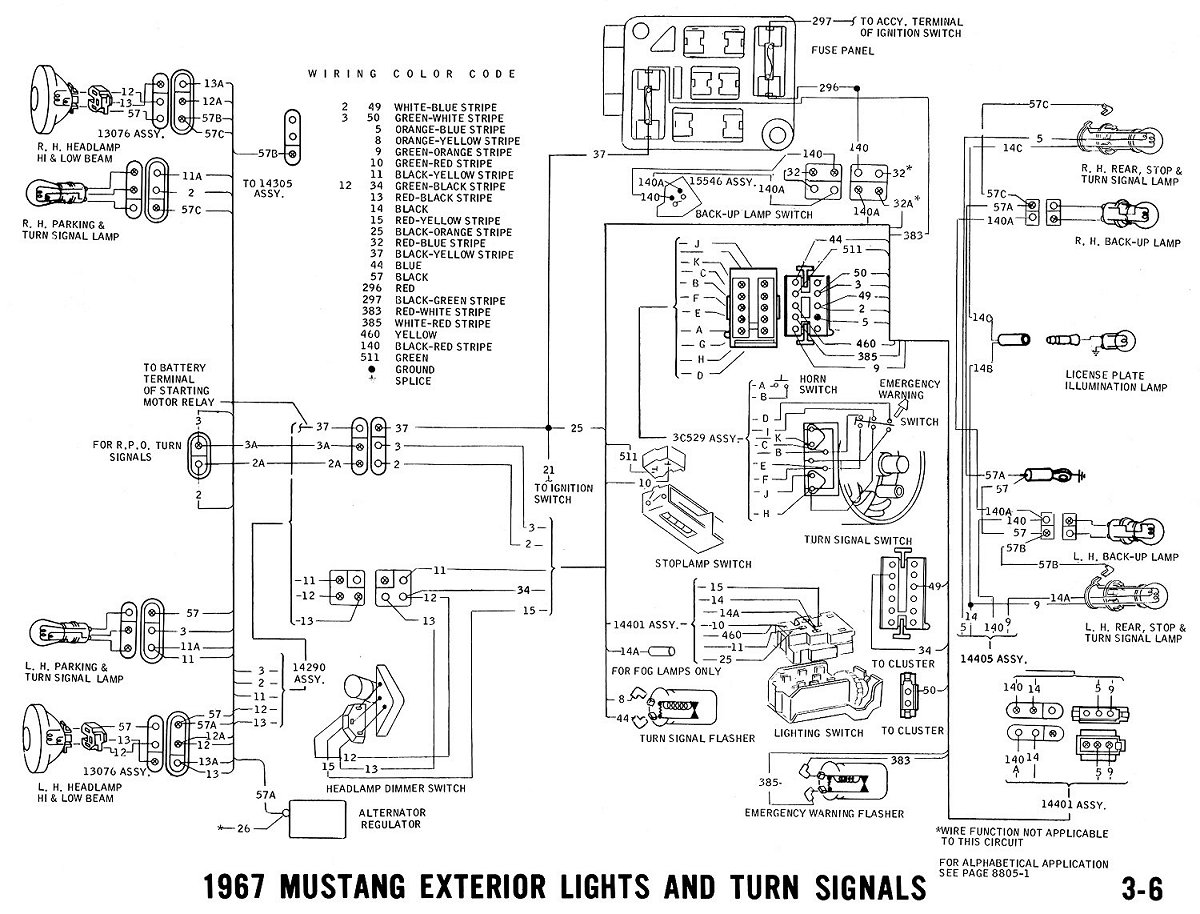 67exter1 67 mustang wiring diagram 1965 mustang wiring harness diagram 1965 mustang turn signal wiring diagram at bakdesigns.co