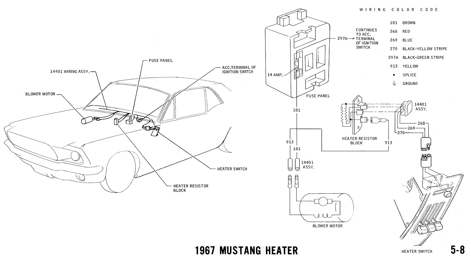 1967 mustang heater  pictorial and schematic