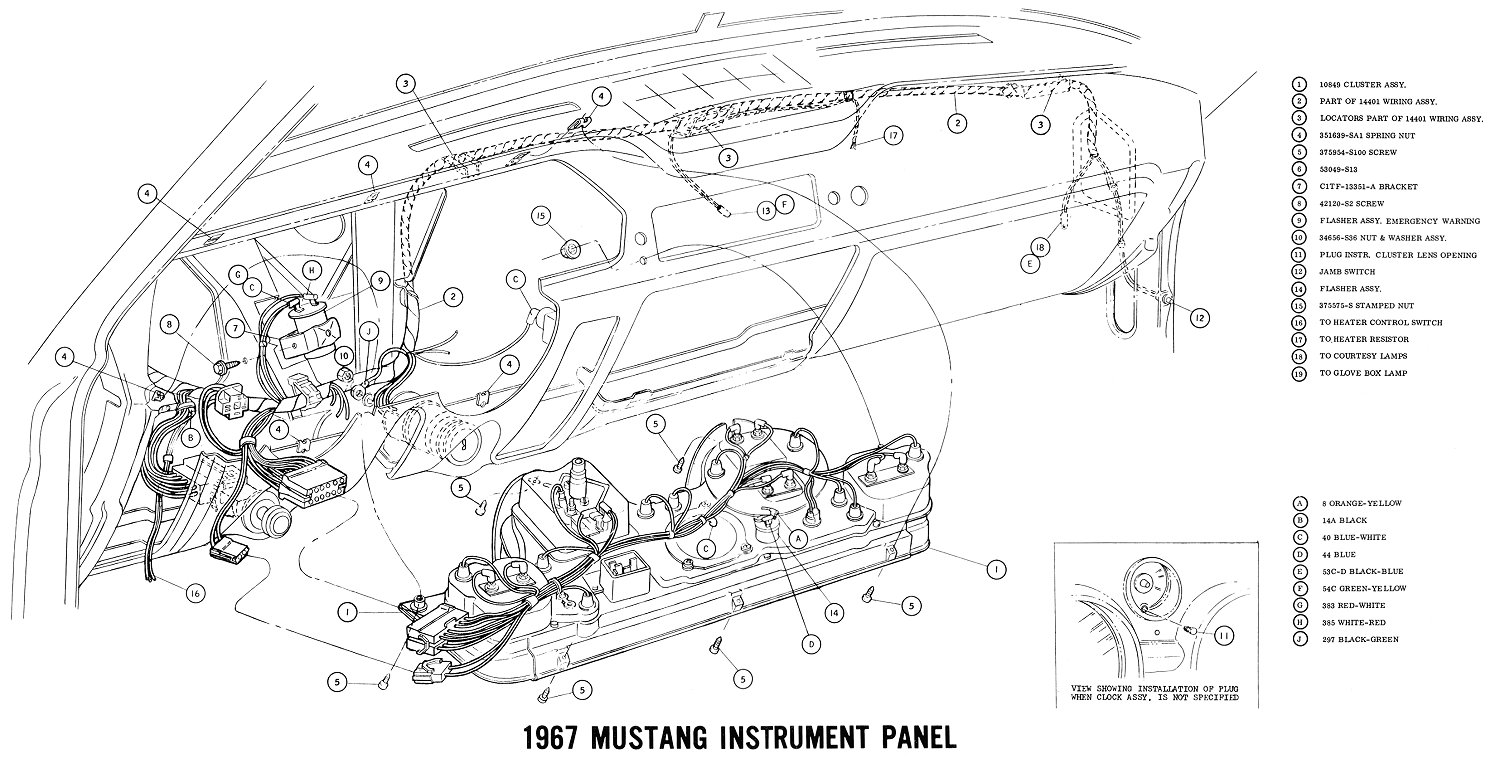 1968 mustang fuel gauge wiring diagram wiring library Strat Wiring 7 Sound 1967 mustang instrument panel pictorial instrument cluster connections