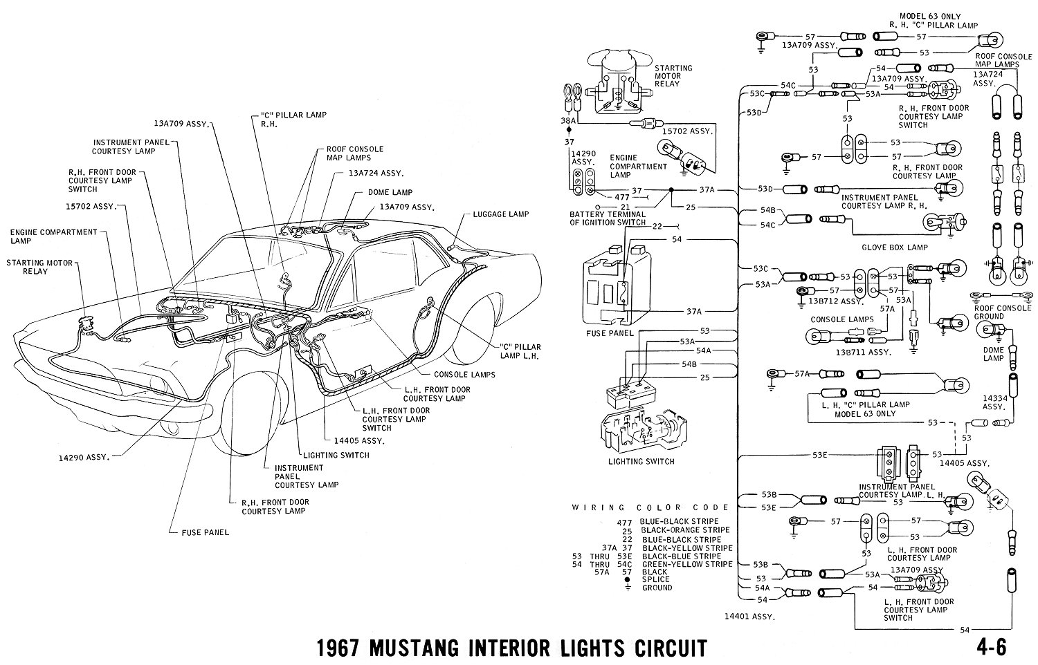 1967 Mustang Wiring And Vacuum Diagrams Average Joe Restoration 74 Charger Headlight Pictorial Schematic