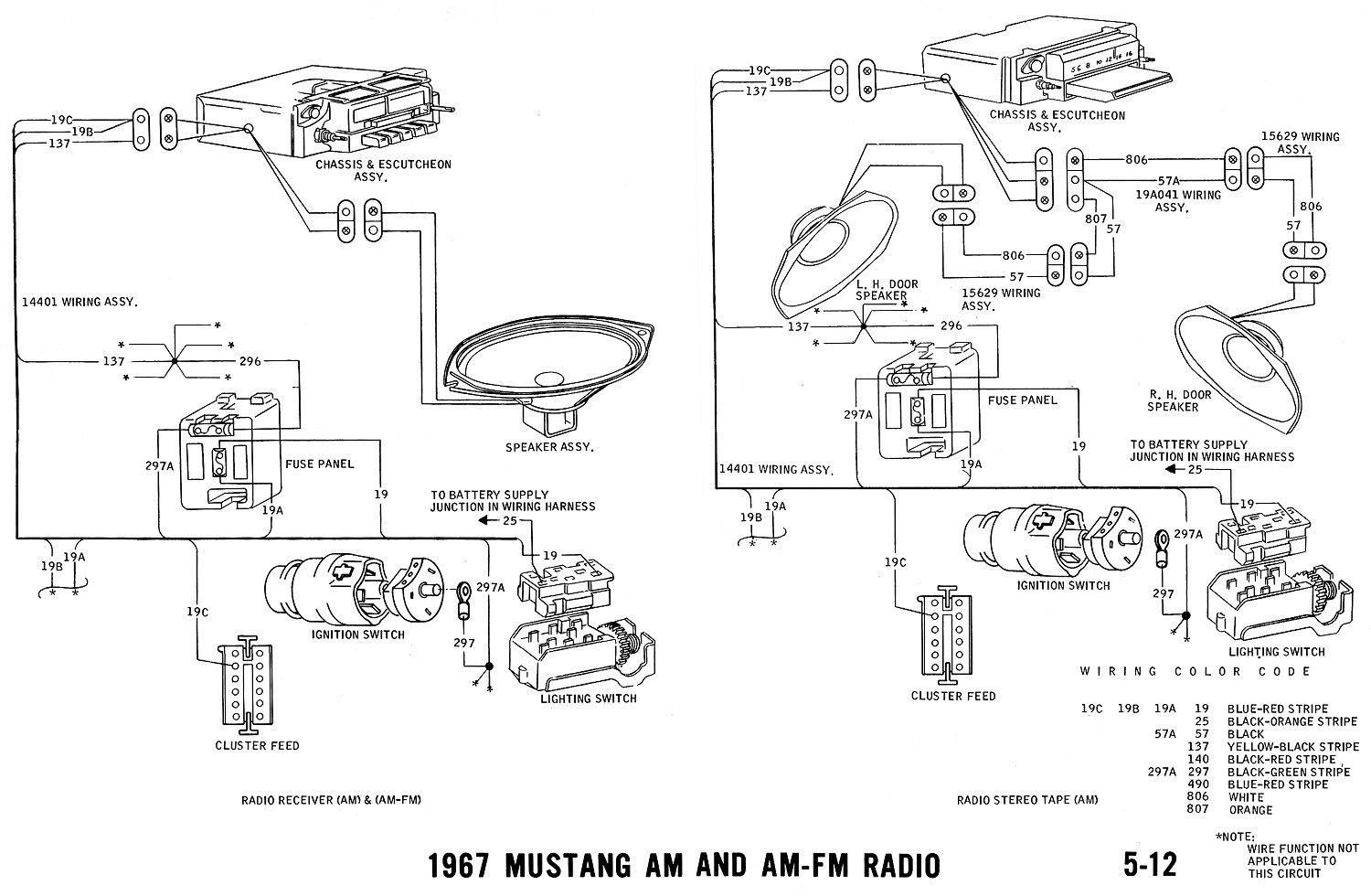 67radio1 1967 mustang wiring and vacuum diagrams average joe restoration 1995 mustang gt radio wiring diagram at soozxer.org