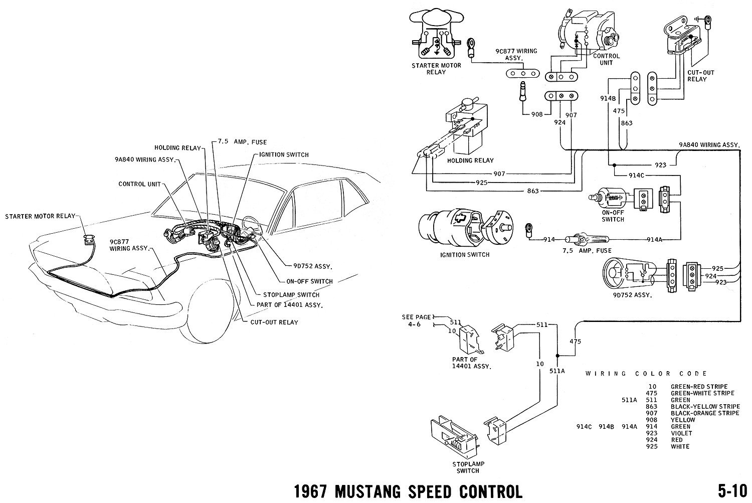 1967 Mustang Speed Control. Pictorial and Schematic Vacuum Diagram