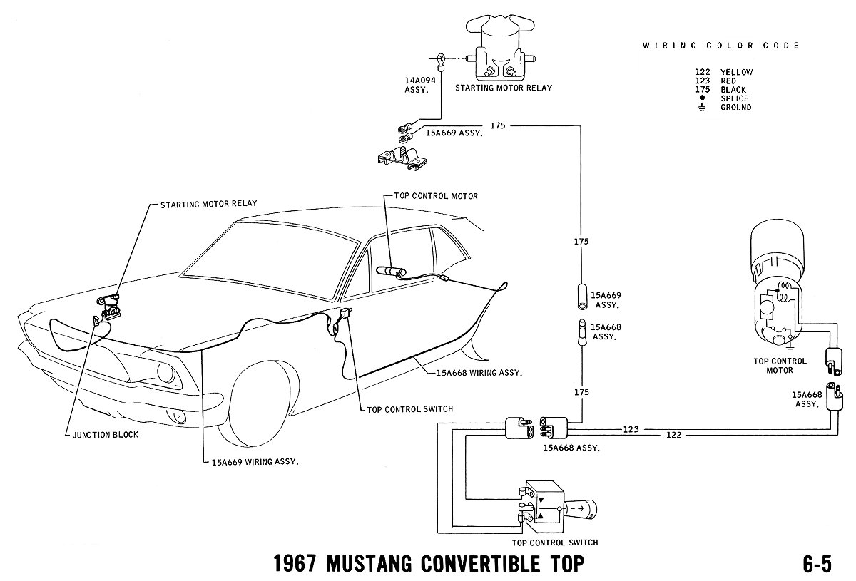 mustang wiring and vacuum diagrams average joe restoration 1967 mustang power top pictorial and schematic