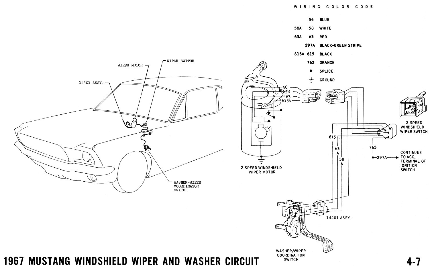 1967 Mustang Wiring And Vacuum Diagrams Average Joe Restoration 1996 Jeep Cherokee Windshield Wipers Pictorial Schematic