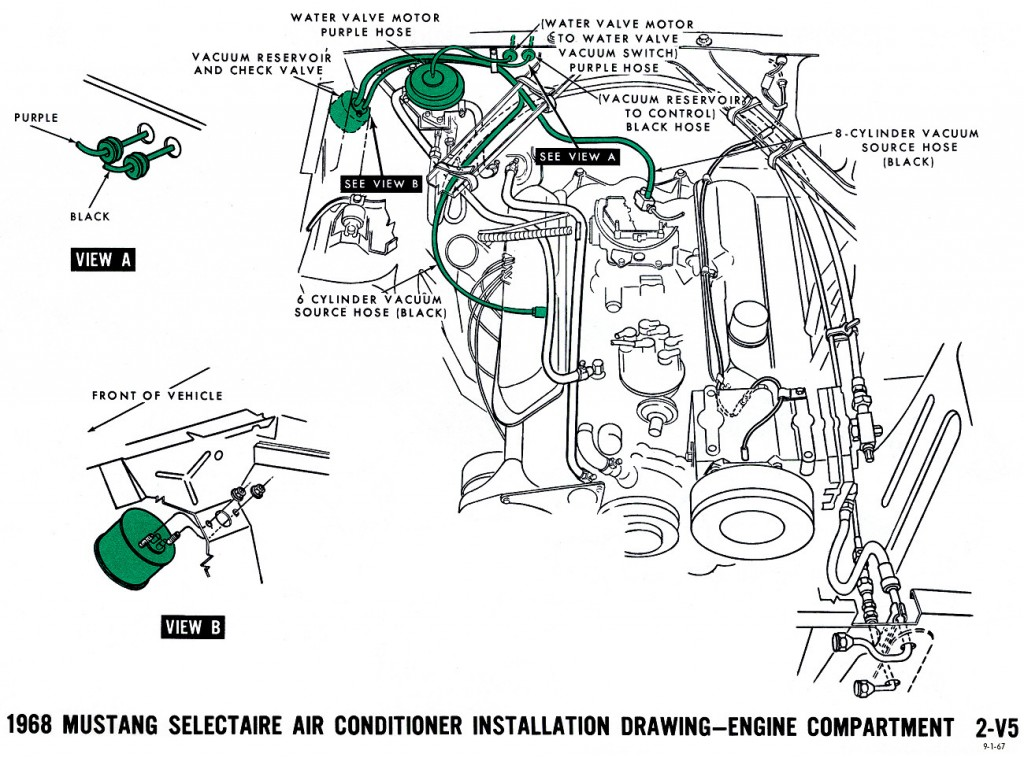 1968 mustang vacuum diagram air conditioning 1968 mustang wiring diagrams and vacuum schematics average joe 1965 Mustang Restoration Guide at n-0.co