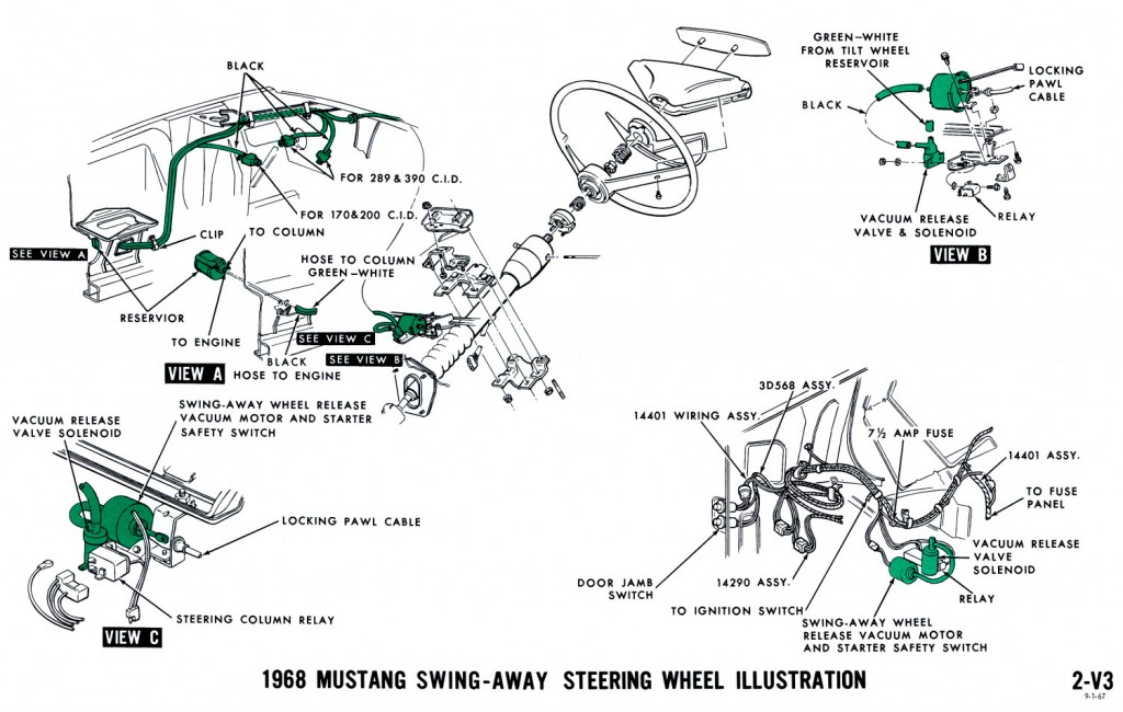 1968 mustang vacuum diagram steering wheel 1968 mustang wiring diagrams and vacuum schematics average joe 1969 ford f100 steering column wiring diagram at gsmportal.co