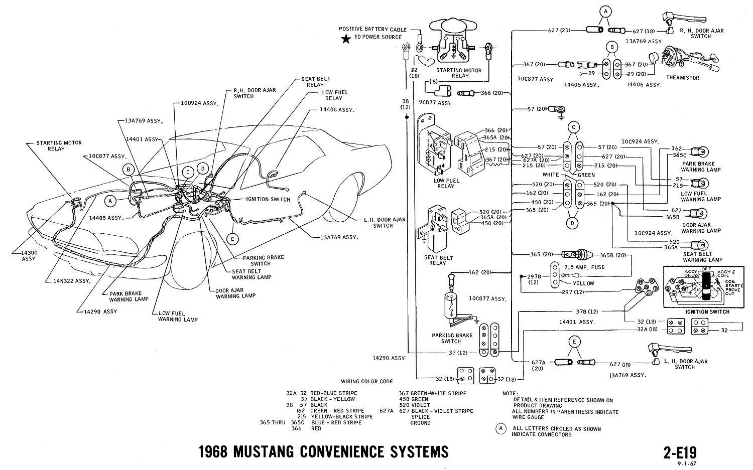 1968 mustang wiring diagram convenience systems 1968 mustang wiring diagram manual 68 mustang ignition wiring 1967 mustang ignition wiring diagram at soozxer.org