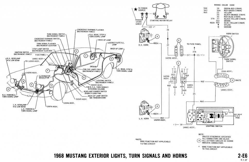 1968 mustang wiring diagram exterior lights turn signals 2 1968 mustang wiring diagrams and vacuum schematics average joe Turn Signal Relay Wiring Diagram at mr168.co