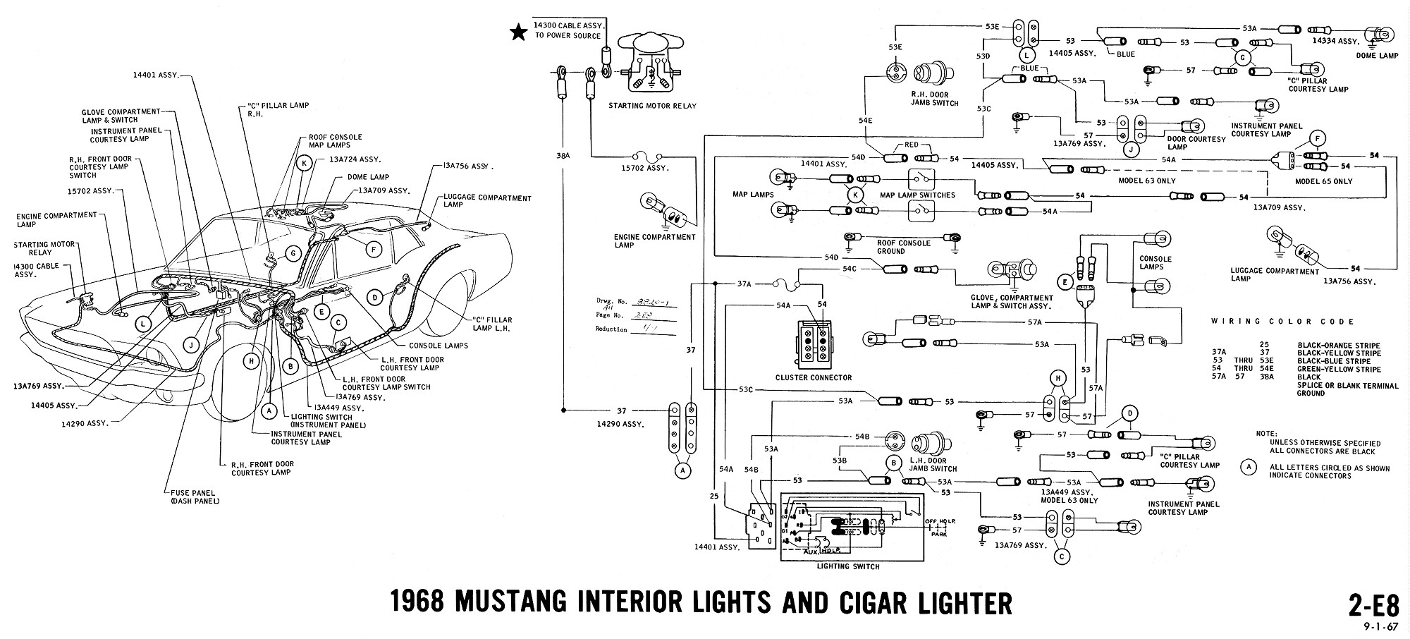 1968 mustang wiring diagram interior lights cigar lighter 1968 mustang wiring diagrams and vacuum schematics average joe Turn Signal Relay Wiring Diagram at mifinder.co