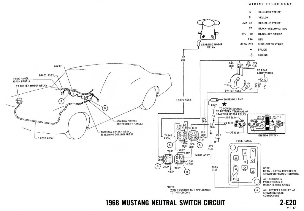 1968 mustang wiring diagrams and vacuum schematics average joe 1968 mustang wiring diagram neutral switch