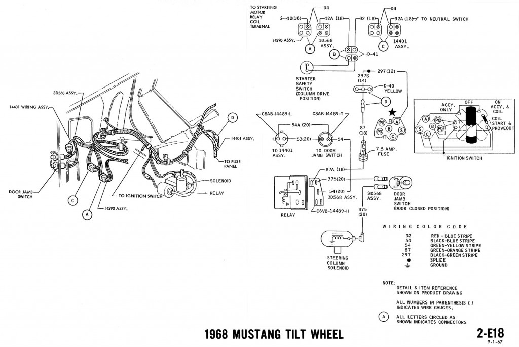 1968 mustang wiring diagrams and vacuum schematics average joe1968 mustang wiring diagram tilt wheel
