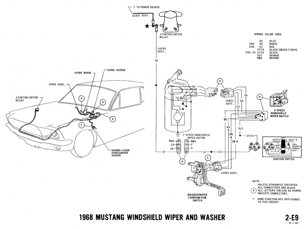 1968 Mustang Wiring Diagrams And Vacuum Schematics Average Joe Ford Rear Wiper Motor Diagram Washer