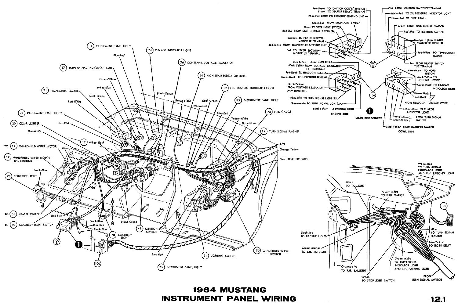 1964 Mustang Wiring Diagrams Average Joe Restoration Peugeot 206 Fuse Box Heater Instrument Cluster Connections