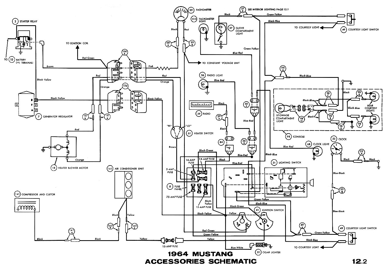 1964 Mustang Wiring Diagrams Average Joe Restoration 1968 Transmission Selector Diagram Accessories Pictorial Or Schematic Air Conditioner