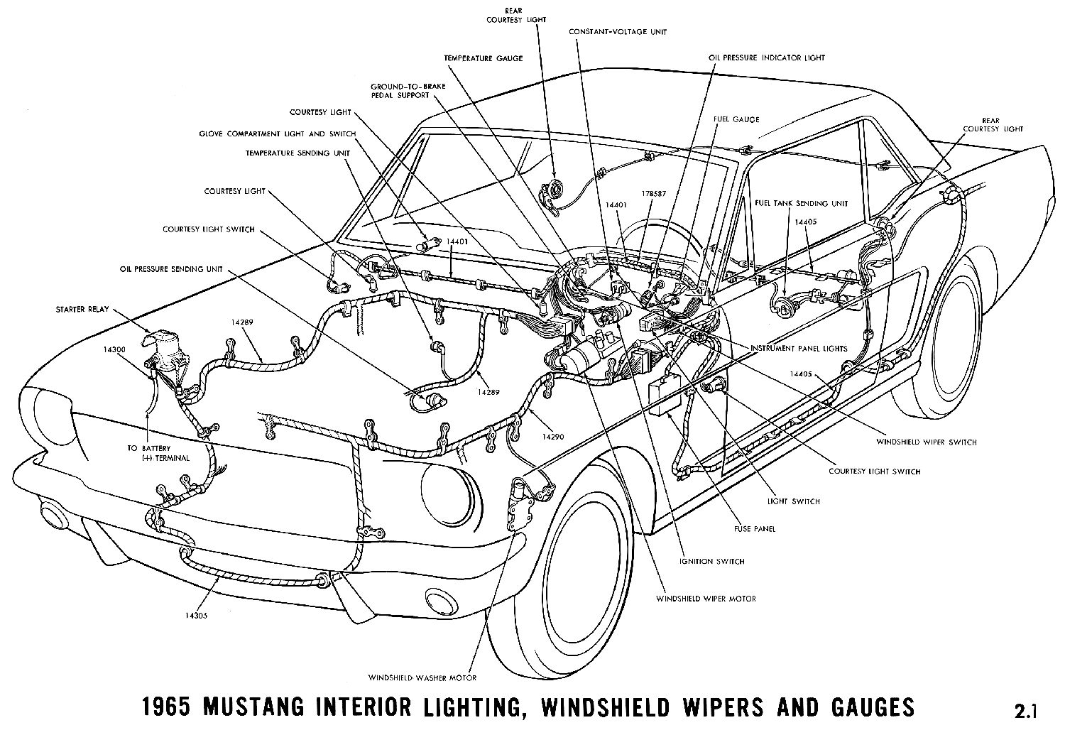 1965 Mustang Wiring Diagrams Average Joe Restoration 2001 Gt Headlight Diagram Interior Lights Windshield Wiper And Gauges Pictorial Or Schematic