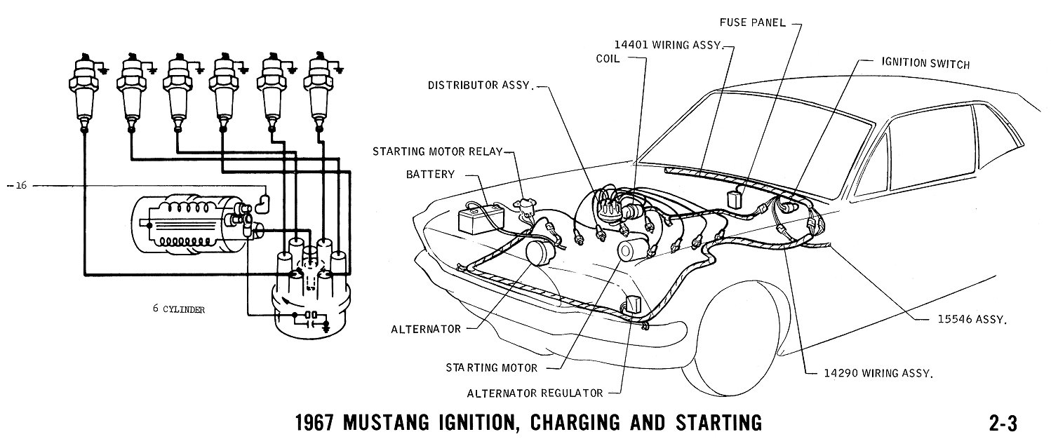 1967 Mustang Wiring And Vacuum Diagrams Average Joe Restoration Externally Regulated Alternator Diagram Pictorial 6 Cylinder Ignition Schematic Or Regulator