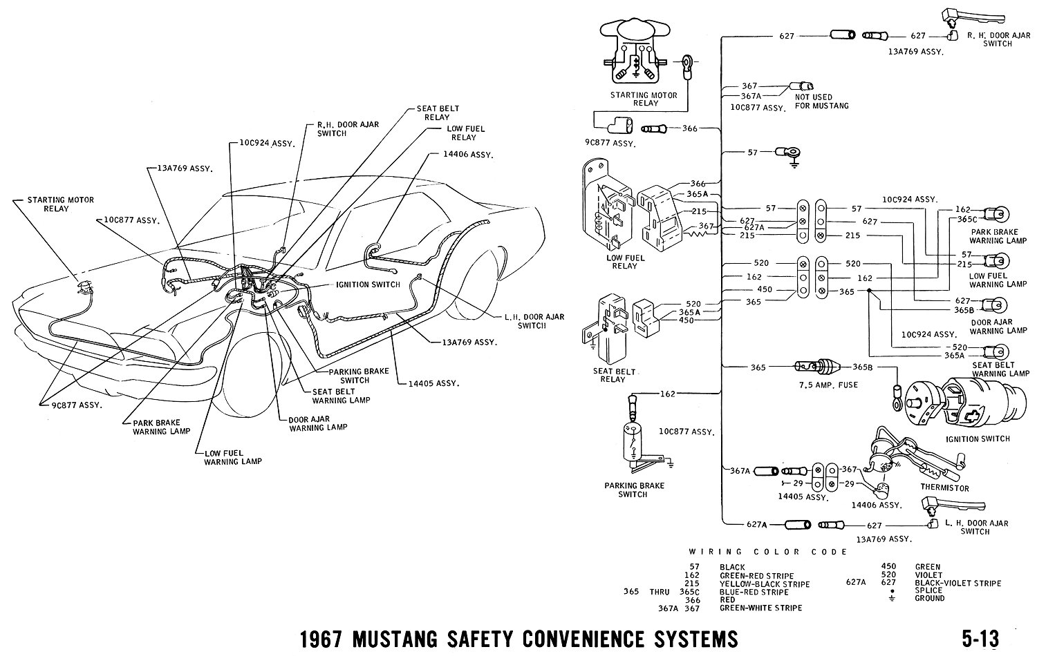 1967 Mustang Wiring And Vacuum Diagrams Average Joe Restoration 1980 Camaro Parking Brake Schematic Pictorial Seat Belt