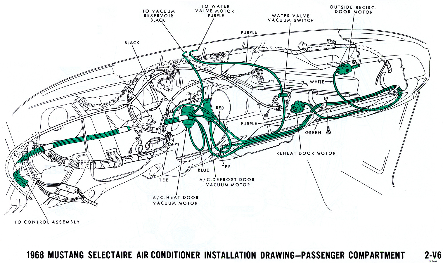 1968 Mustang Wiring Diagrams And Vacuum Schematics Average Joe Camaro Stearing Column Diagram Air Conditioning Interior