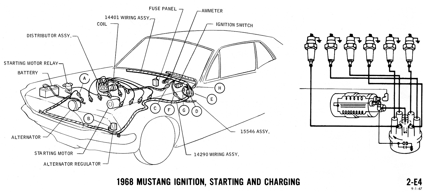 Mustang Wiring Diagram Ignition Starting Charging on 1964 mustang alternator wiring diagrams