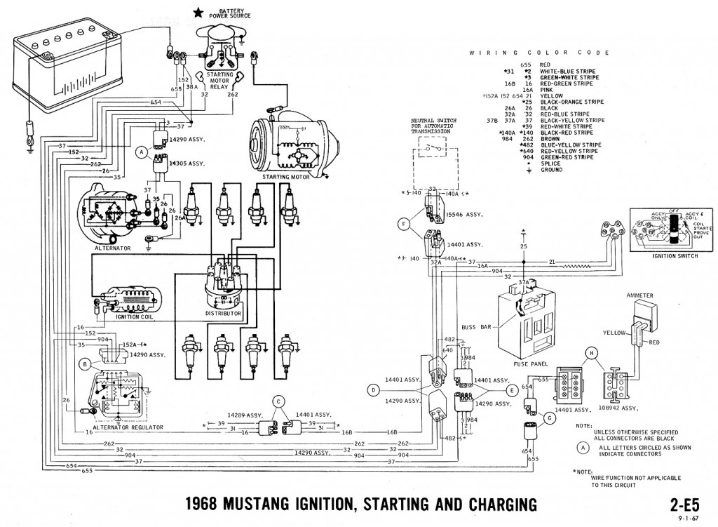 Mustang Wiring Diagram Ignition Starting Charging on 1967 vw horn wiring diagram