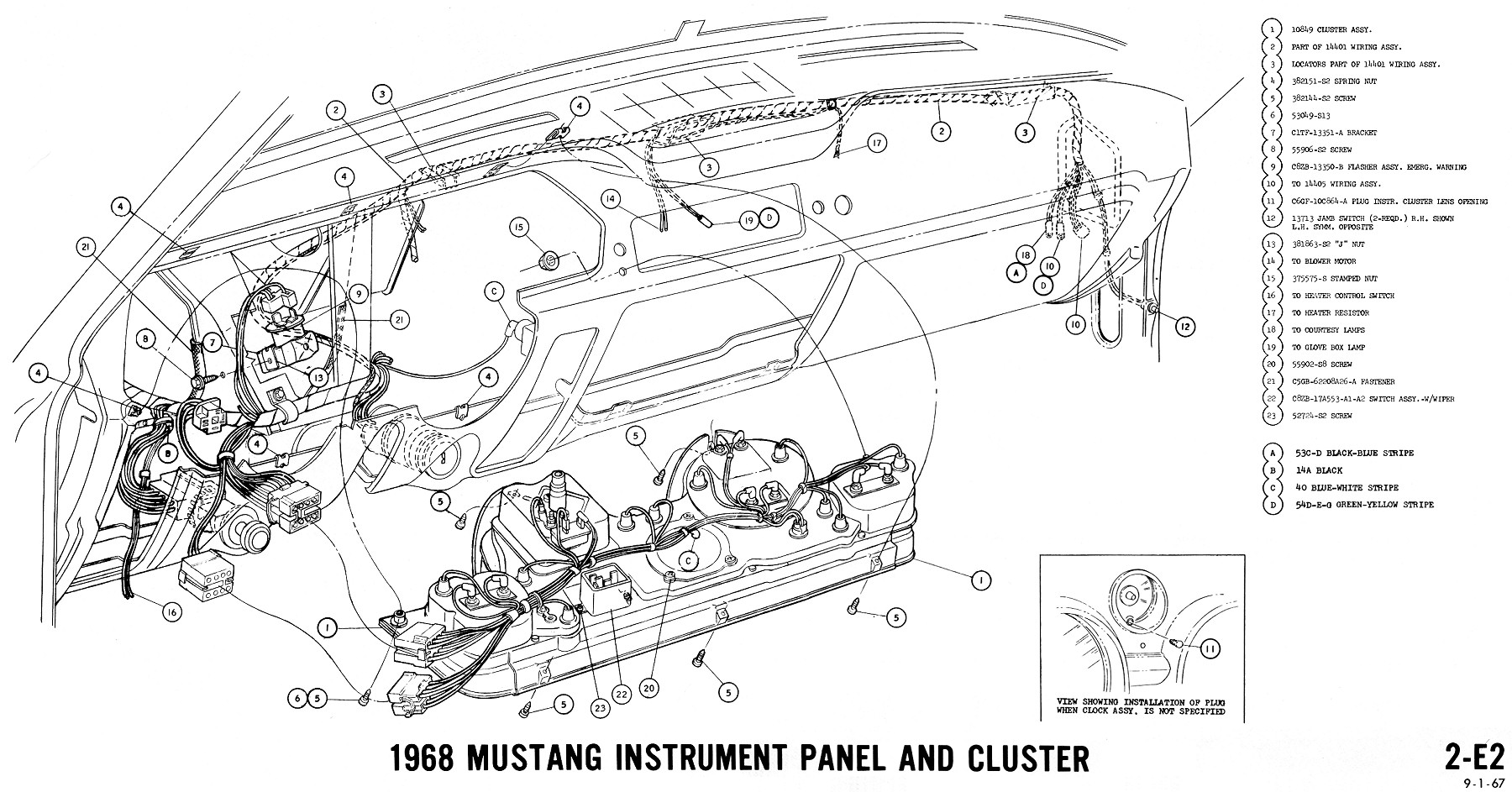 1967 Ford Mustang Ac Heater Wiring Diagram Library 65 Fairlane 1968 Instruments 2