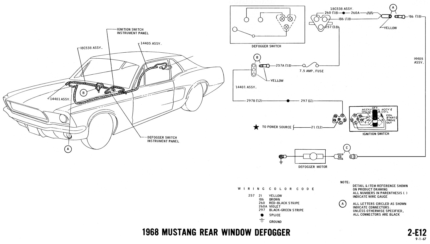 1968 Mustang Wiring Diagrams And Vacuum Schematics Average Joe 85 Steering Column Diagram Ford Truck Rear Window Defrost